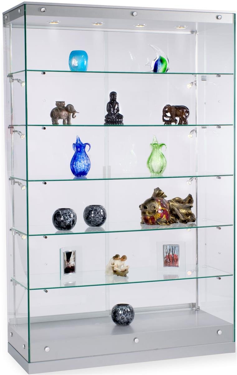 Glass Display Showcase And Silver MDF Base, With Adjustable Shelves, Halogen Lights And Locking Sliding Doors Displays2go
