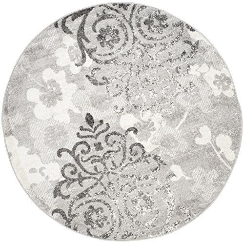 Safavieh Adirondack Collection ADR114B Silver and Ivory Contemporary Chic Damask Round Area Rug (10' in Diameter) - 10' Round Area Rug