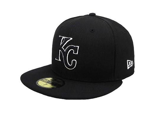 827b37910edd77 New Era 59Fifty Hat MLB Kansas City Royals Black/White Fitted Cap (6 7