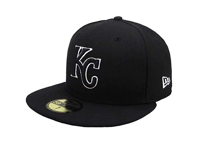 6e6d0271032 Amazon.com  New Era 59Fifty Hat MLB Kansas City Royals Black White ...