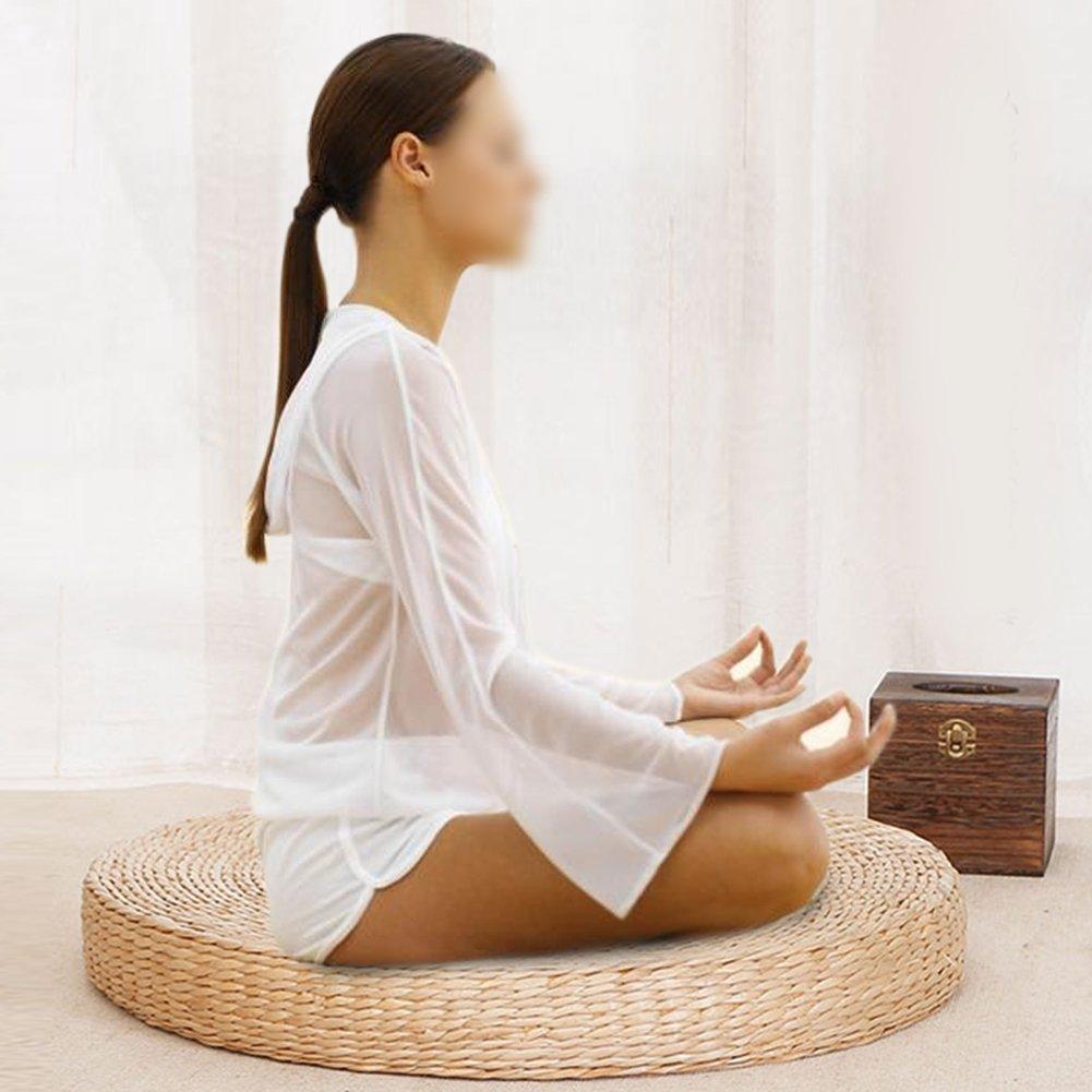 Amazon.com: GOTOTOP Woven Straw Cushion Round Pouf Tatami ...
