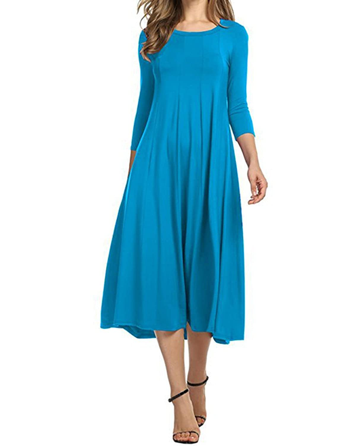 AUDATE Women's Casual 3/4 Sleeve Solid Color A-Line Loose Swing Midi Dress S-3XL AUDATE-CA0029845@880