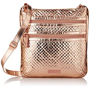 Vera Bradley Iconic Triple Zip Hipster, Foiled Cotton, Rose Gold Shimmer