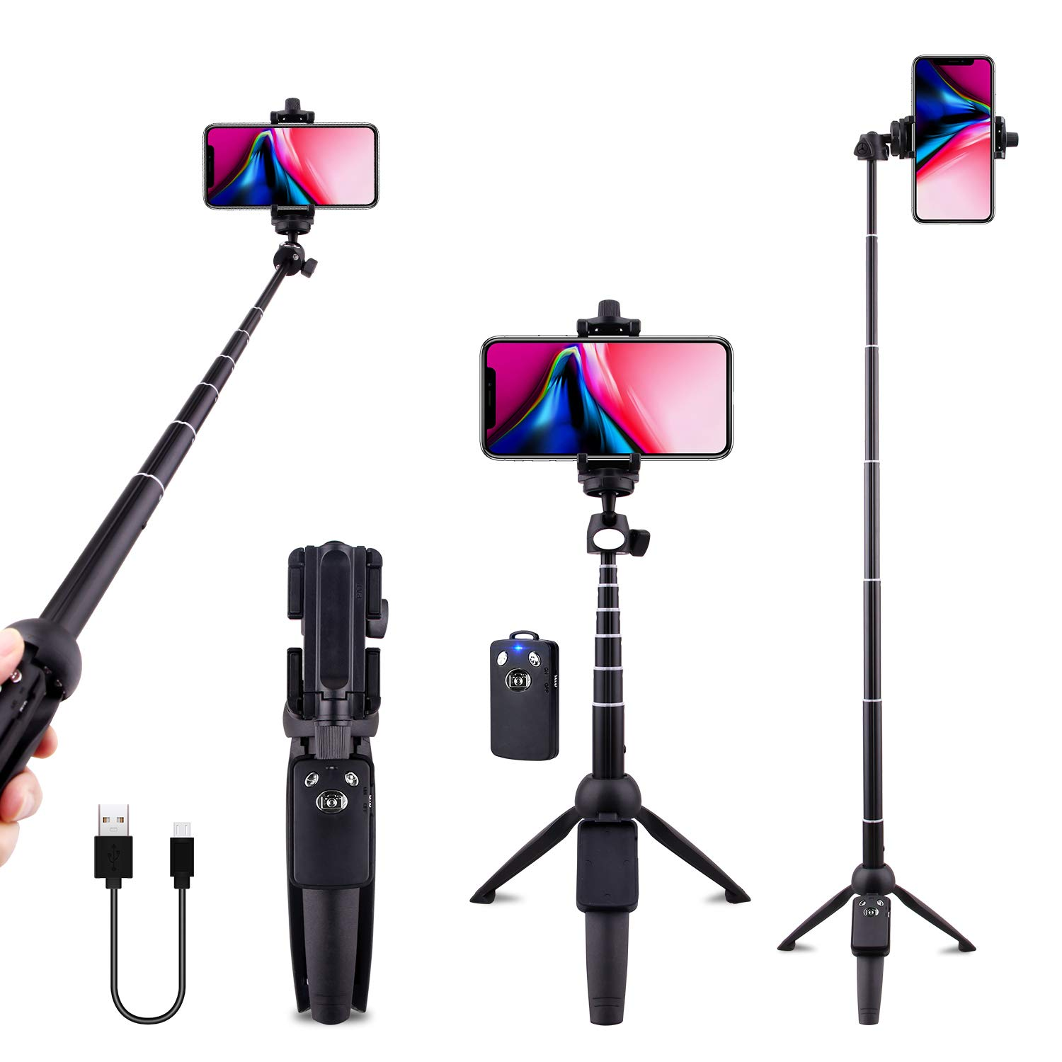 Selfie Stick Tripod Bluetooth, LATZZ 40 Inch Extendable Phone Tripod Monopod with Wireless Remote Shutter and Tripod Stand Compatible iPhone X/8/8P/7/7P/6/6P/Galaxy Note 8/S9+/S9, More