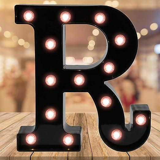 Light up Black Alphabet Marquee Letters Sign LED Letter Lights for Home Bar Festival Birthday Party Wedding Decorative (Black Letter R)