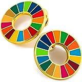SDGs バッジ(2個) ピンバッチ バッヂ 高級 SDGs ピンバッジ 珐琅彩 七宝焼 ゴールド 最新仕様 国連本部限定販売 ピンバッジの留め具 8個 人気 おしゃれ ギフト
