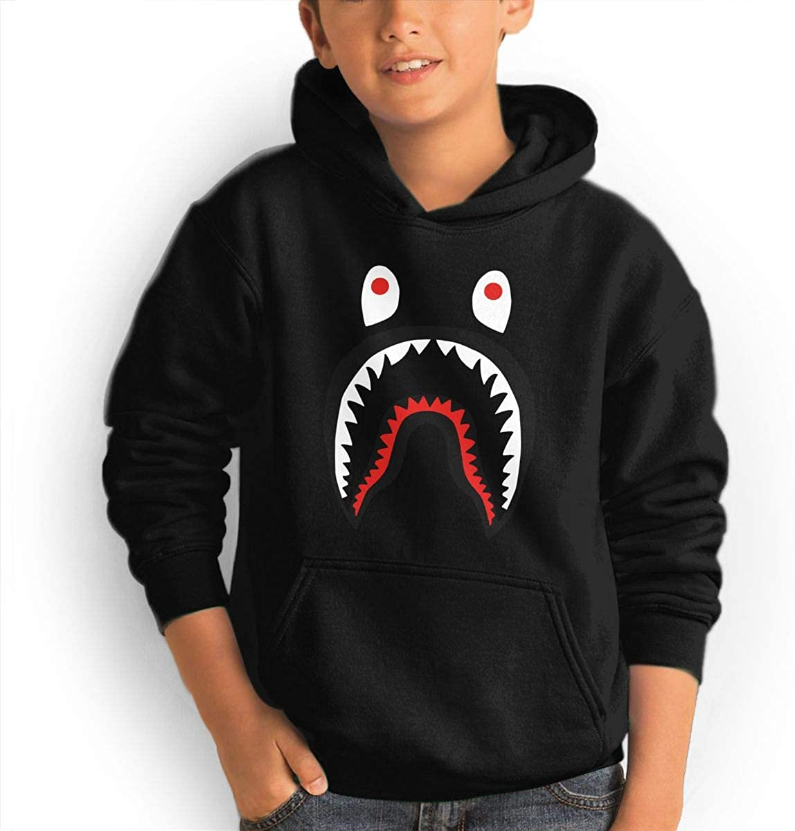 Trikahan Unisex Kid's/Youth Hoodie Bape Blood Shark Novelty Pullover Sweatshirt