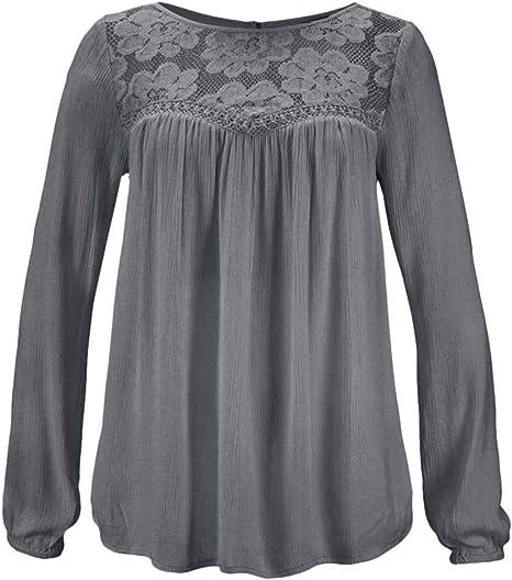 Camicetta Maniche Lungo da Donna Autunno Invernali Camicie in Pizzo Camicia Girocollo Eleganti Top Blusa,S-2XL,Mambain
