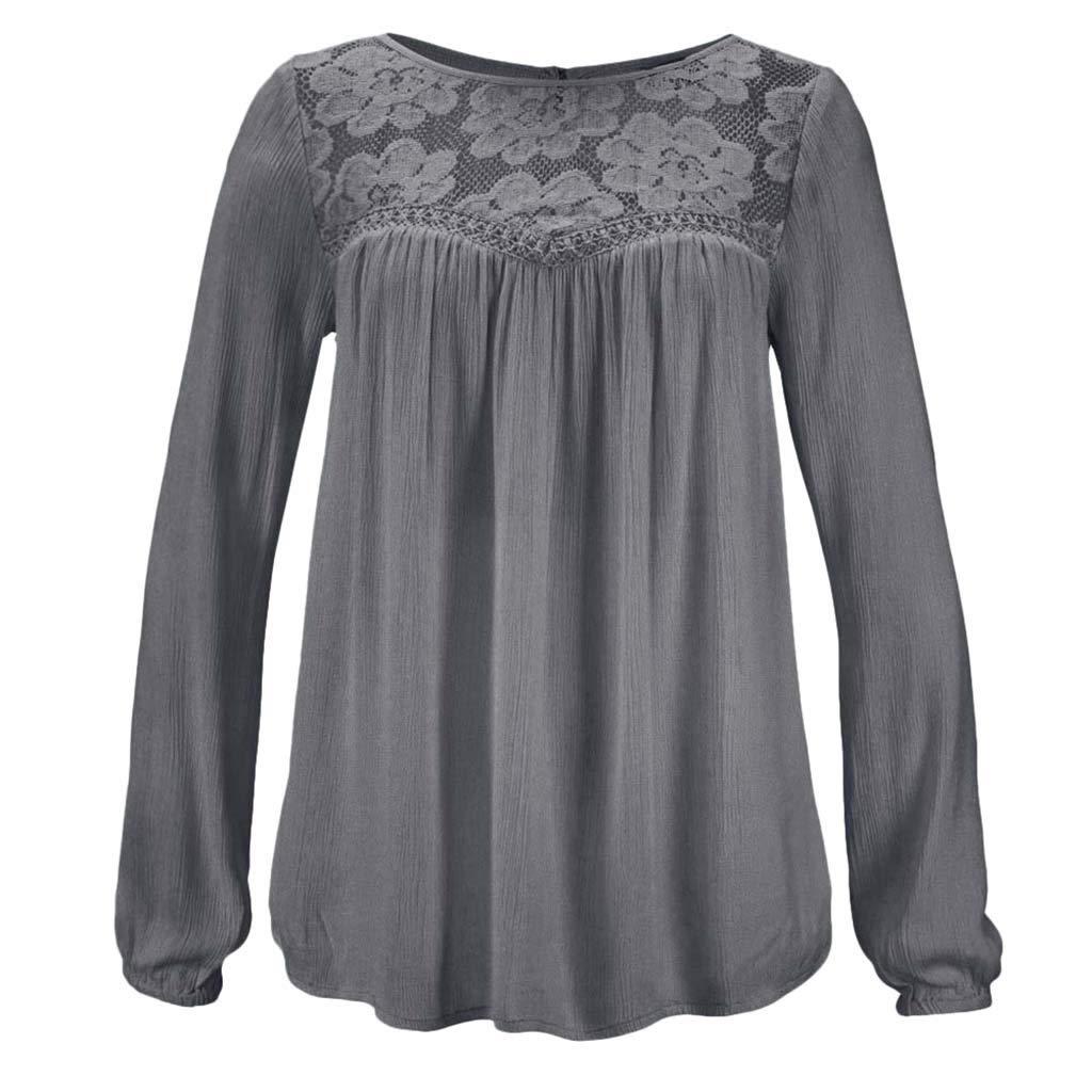 7469332fdff0 Amazon.com: Fainosmny Womens Tops Loose Shirt Sexy Lace Blouse Casual Tunic  Tees Long Sleeve Sweatshirt Fashion Ladies T Shirt: Clothing