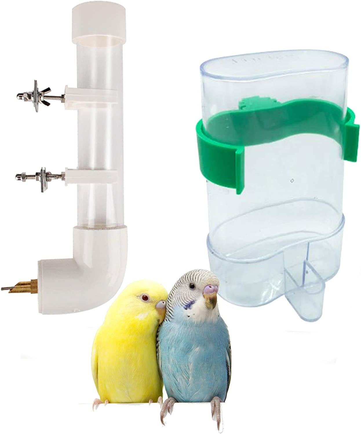 Hamiledyi 2 Pcs Automatic Parrot Feeder Drinker Hanging Spill-Proof Water Cup Feeder Food Feeding Automatic Feeding Hanginig Plastic for Budgies Finch and Other Bird Rabbit Mice