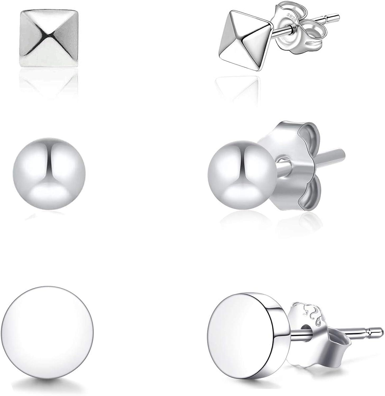 Simple 925 Sterling Silver Ball Stud Earrings
