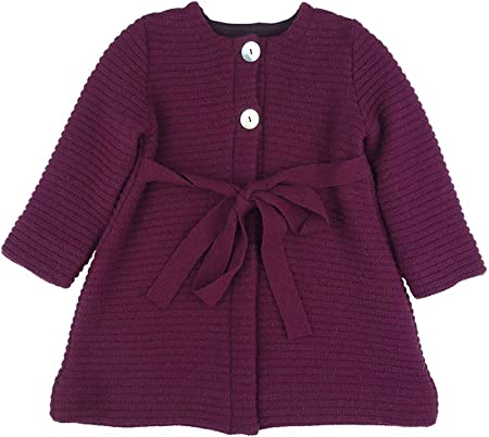 FOQUE - Abrigo de Punto para niña con Cuello Redondo y cinturón. Color Burdeos. Forro Interior