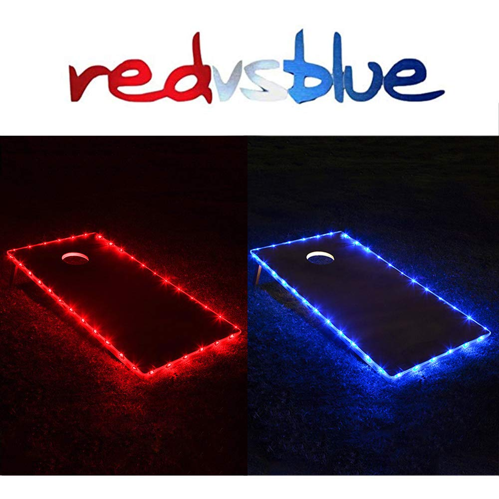 TongYu Set of 2 Cornhole Board Edge Night Lights,Light Up LED Lighting Cornhole Boards Kit, Long Lasting (72+ Hours) Great for Tailgates Backyard/Lawn Wedding BBQ & More! (red & Blue) by TongYu
