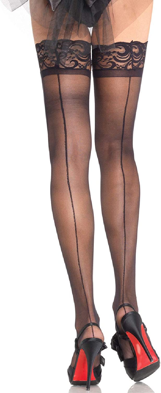 1035-RD Stay Up Back Seam Fishnet Thigh High Stockings With Silicone Lace Top