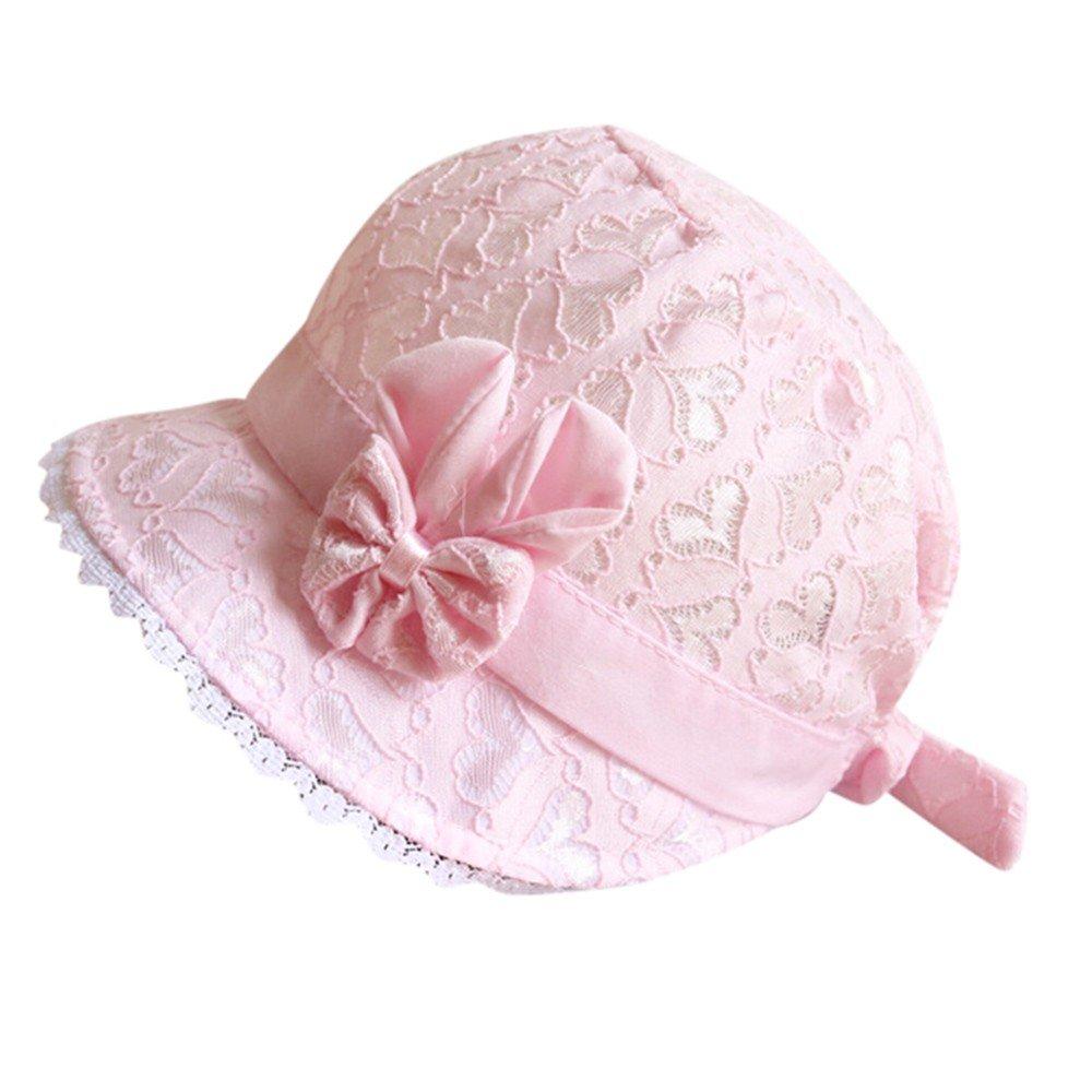 ❤️ Mealeaf ❤️ Baby Toddler Girls Summer Cartoon Hat Infant Peach Heart Printing Cap(Pink,)