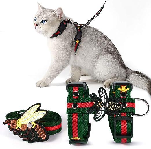 Unihubys - Arnés para gato con correa - Arnés y correa para caminar con bordado ajustable estilo abeja H: Amazon.es: Productos para mascotas