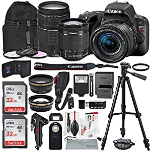 Canon EOS Rebel SL2 DSLR Wi-Fi Camera with EF-S 18-55mm STM Lens (Black) Bundle w/ EF 75-300mm f/4-5.6 III Lens + 32GB + Xpix Tripods & Cleaning Kit + More