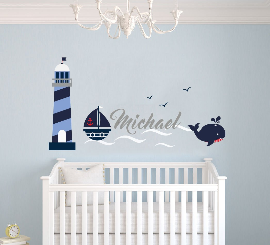 Custom Name Waves Lighthouse Birds And Whale Animal Series - Nautical Theme - Baby Boy - Wall Decal Nursery For Home Bedroom Children (MM13) (Wide 24''x14'' Height)