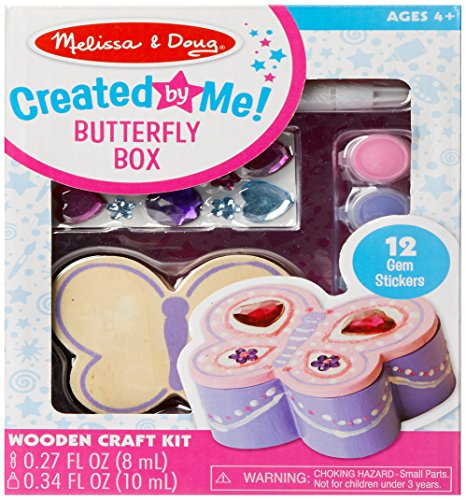 Melissa & Doug Decorate-Your-Own Wooden Butterfly Box Craft (Treasure Box Craft Kit)