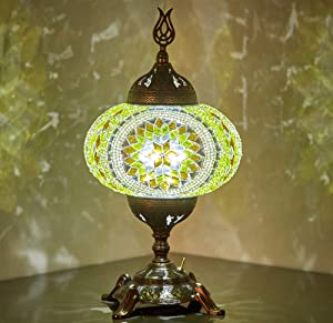(15 Colors) Battery Operated Mosaic Table Lamp with Built-in LED Bulb, Turkish Moroccan Handmade Mosaic Table Desk Bedside Mood Accent Night Lamp Light Lampshade with LED Bulb,No Cord (Lemon Garden)