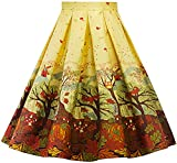 Womens Vintage a Line Skirt High Waist Pleated Flared Midi Skirts R02 (Yellow, L)