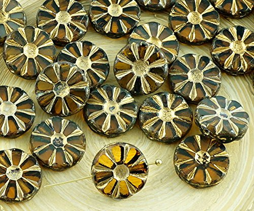 8pcs Picasso Crystal Brown Yellow Opal Gold Wash Window Table Cut Flower Flat Coin Czech Glass Beads 12mm (Beads Round Flowers Yellow)