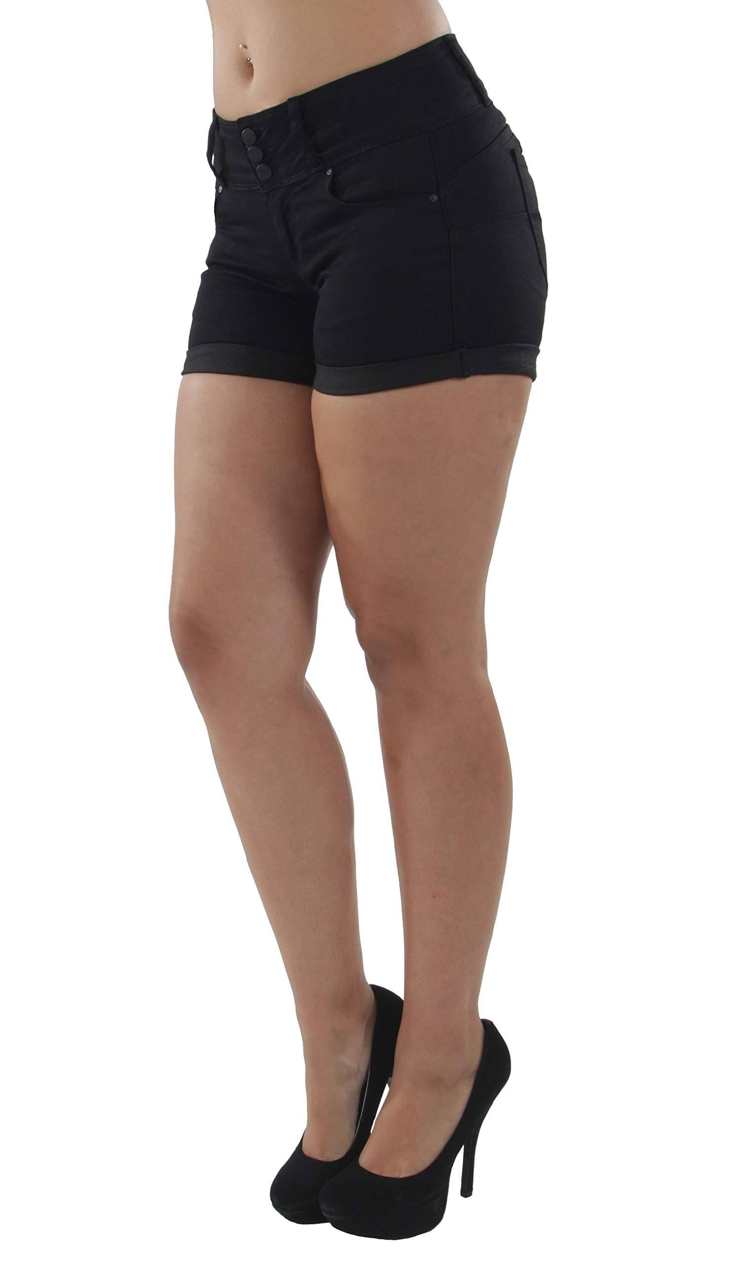 Fashion2Love 90099XL(SH) - Plus Size, Colombian Design, Mid Waist, Butt Lift, Booty Shorts in Black Size 1XL by Fashion2Love (Image #2)