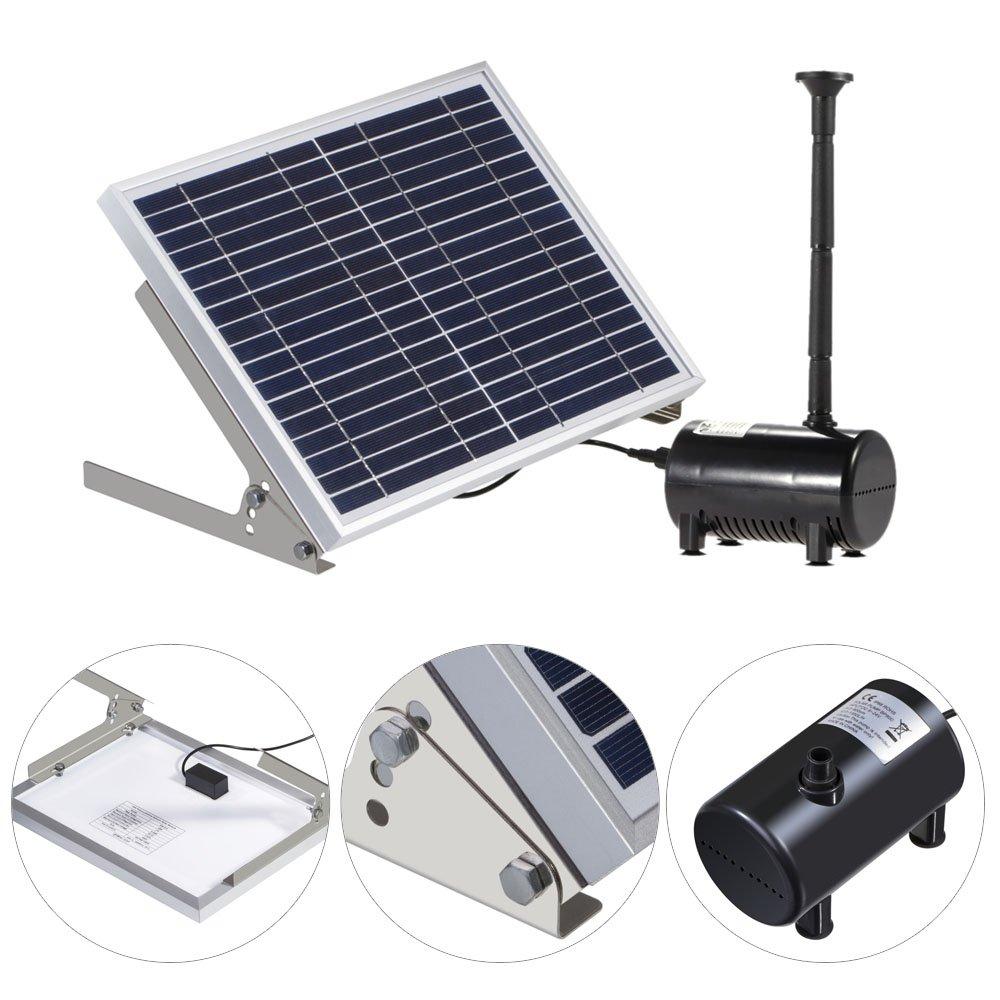 Anself 10 W de equipos alta potencia Paisaje solar Fuente 17 V Jardín Bomba de agua solar Fuentes decorativa: Amazon.es: Jardín
