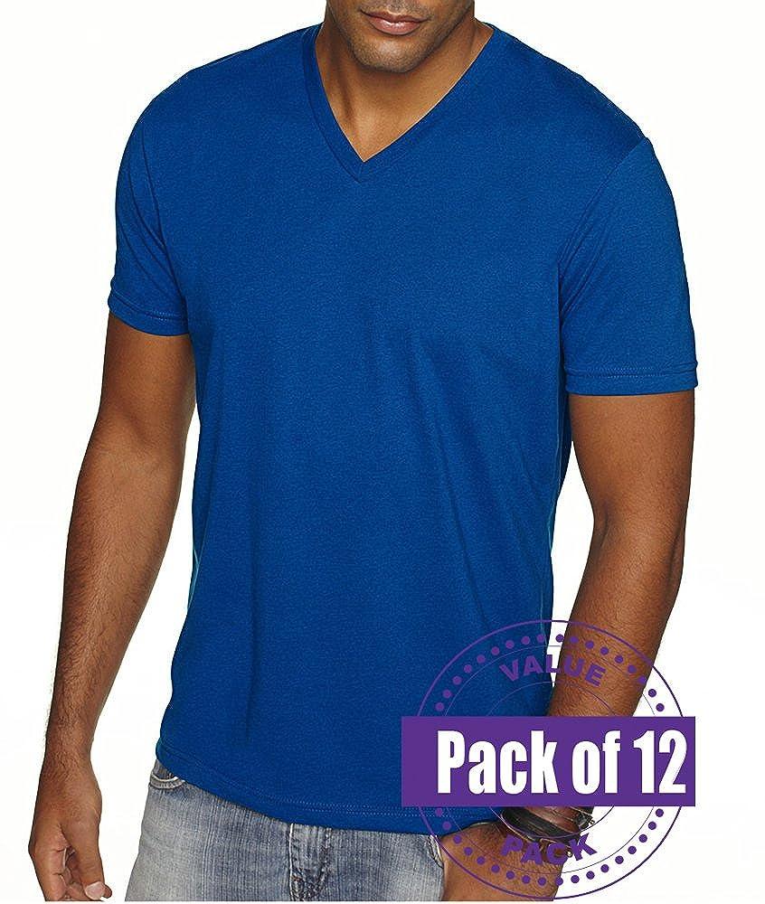 12 Pack Next Level Mens Premium Sueded V-Neck shirt 6440-Royal
