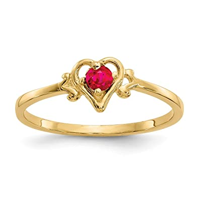 6467f5513 Amazon.com: 14k Yellow Gold Red Ruby Birthstone Heart Band Ring Size ...