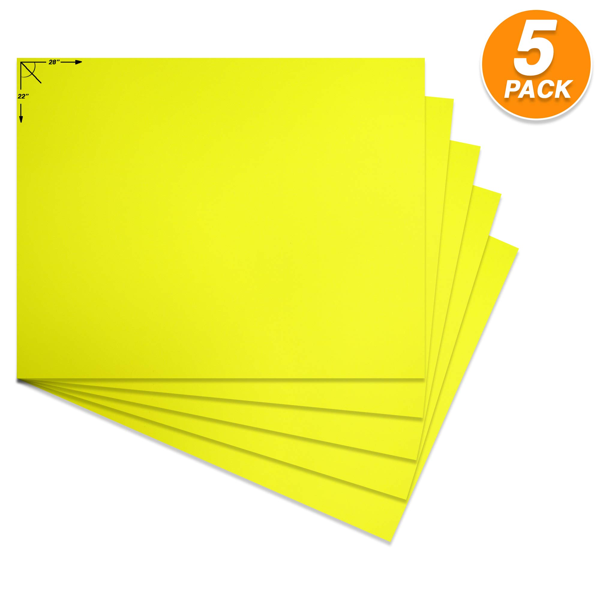 Emraw Poster Board Lightweight Craft Backing Boards for Presentations Office Sign Blank Painting Board Smooth Surface Poster Sheets for School Pack of 5 (Fluorescent Yellow) by Emraw