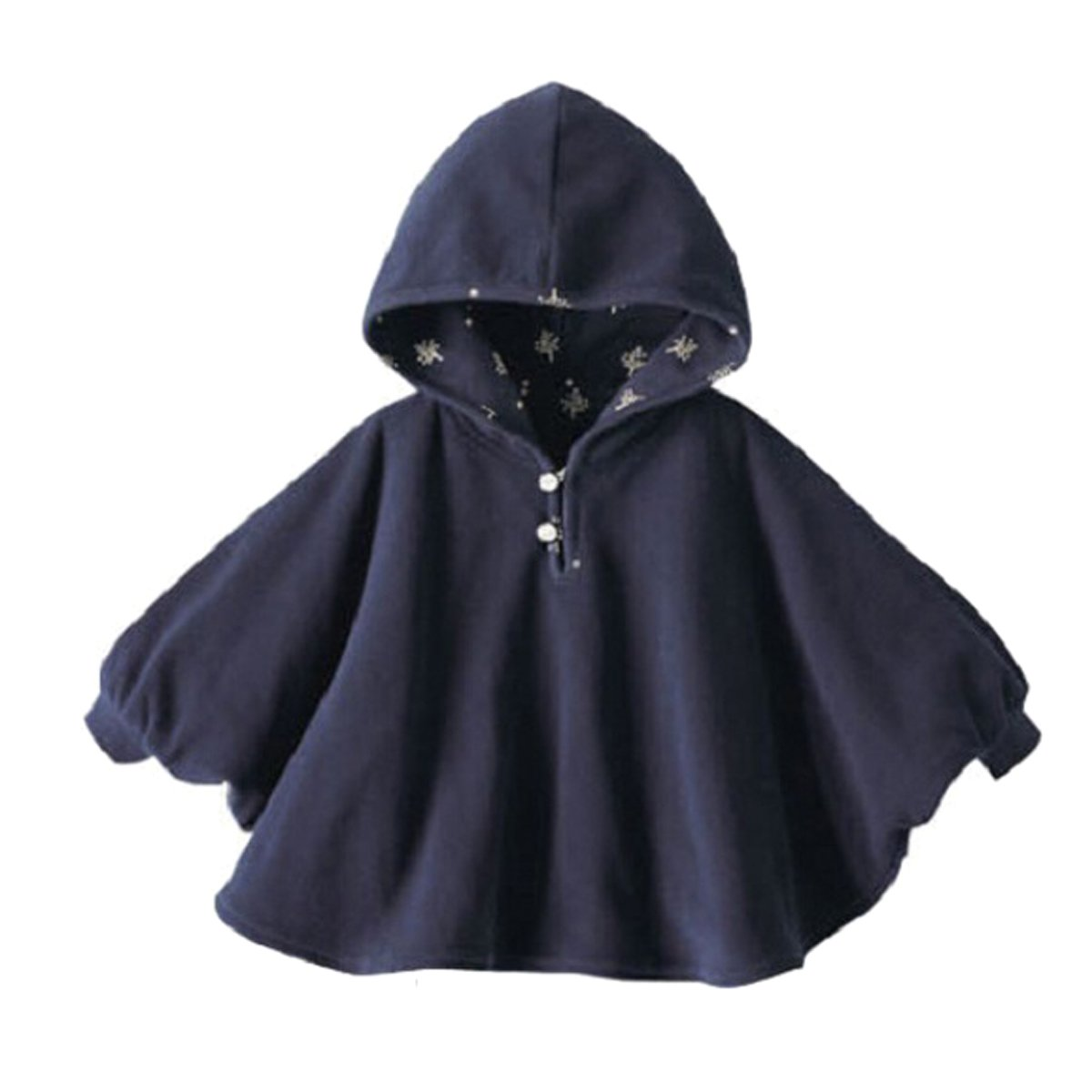 TININNA Lindo Capa Poncho con Capucha, Abrigo con Sombrero Infantil del Cabo del Poncho con Capucha de la Felpa de la Ropa de Bebe-Azul Profundo