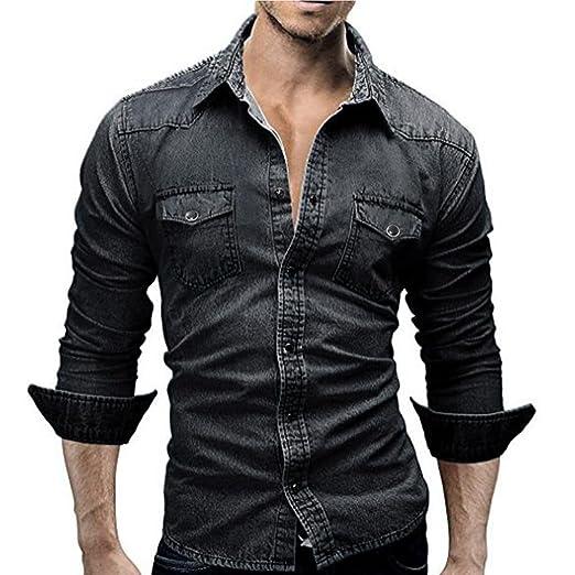 Aurorax Men S Denim Jacket Casual Retro Cotton Long Sleeve Tops