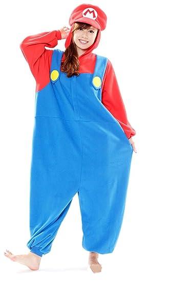 Super Mario Bros Kigurumi Mario Pajamas Dress Mario Costume