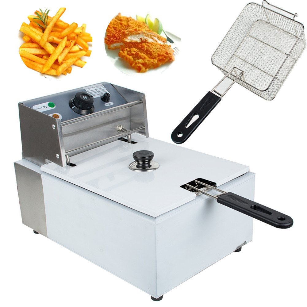 Pevor Deep Fryer 5.5L Electric Countertop Stainless Steel Deep Fryer With Basket Make French Fries Turkey Best Home Kitchen Fryer Commercial Restaurant Deep Fryer (Ship From USA)
