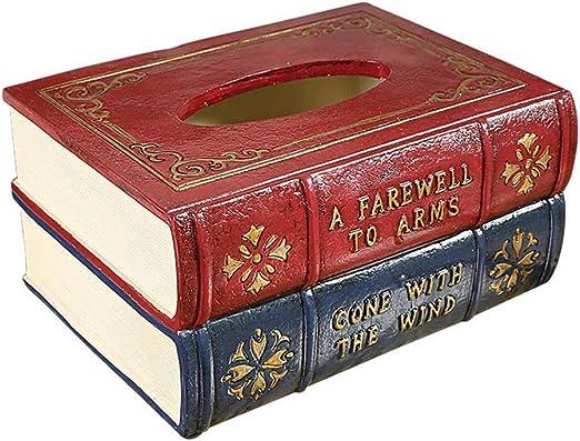 ZTAA Sala de Estar Retro Libro Caja de pañuelos Decoración Mesa ...