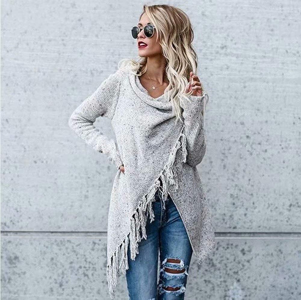 HOSOME Women Sweater Stripes Poncho Fall Tassels Slash Gradient Shawl Hem Fringe Loose Tops