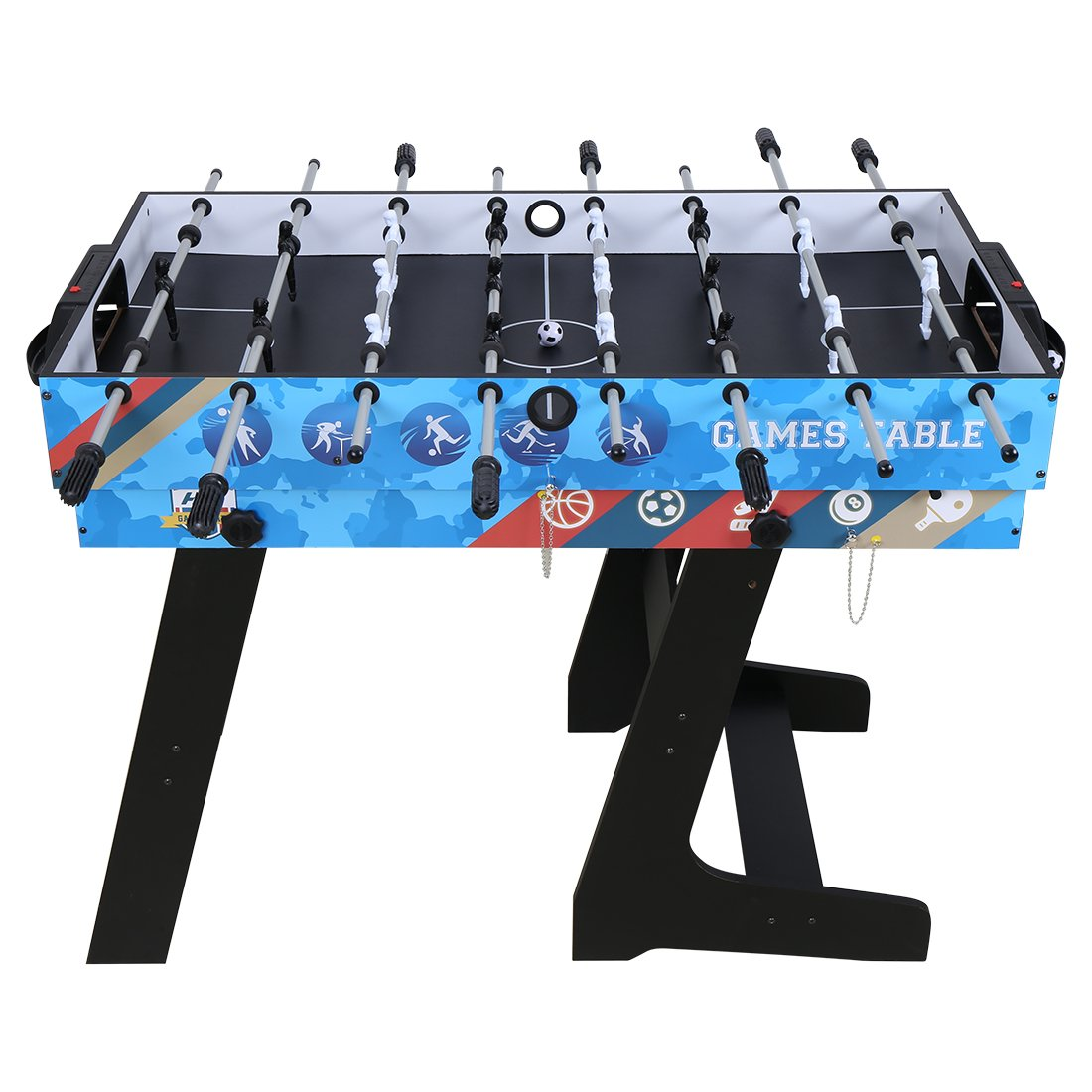 Hysport Multi Game Table 5 in 1 Folding Combo Game Table with Foosball,Slide Hockey,Table Tennis,Billiard,Finger Shoot Basketball by Hysport