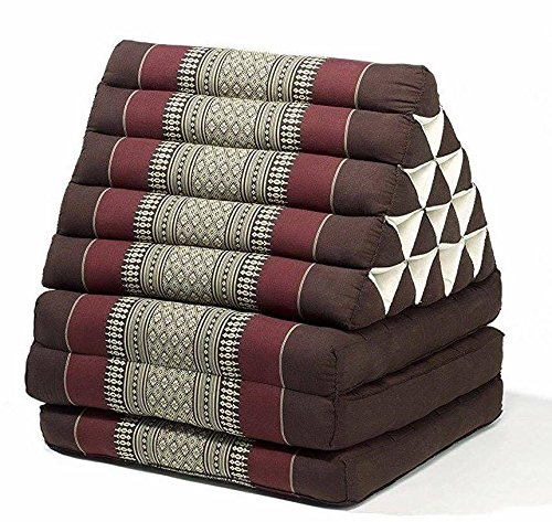Jumbo Size Thai Handmade Foldout Triangle Thai Cushion, 73x18x3 inches, Brown Burgundy, Kapok Fabric, Brown Cream, Premium Double Stitched, Products From Thailand by WADSUWAN SHOP