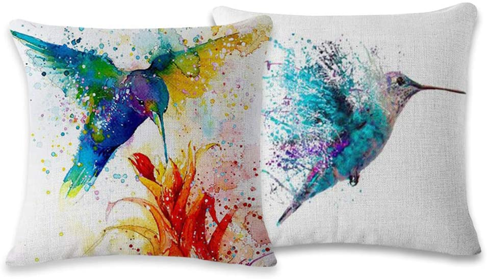 Symuitrc Cotton Linen Throw Pillow Cover Decorative 18 X 18 Inch Pack of 2 Watercolor Printing Couch Pillow Cases Cushion Cover Bird