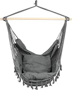 E EVERKING Hammock Chair, Hanging Rope Swing Seat for Indoor Outdoor, Soft Durable Cotton Canvas, 2 Cushions Included, Large Reading Chair with Pocket for Home, Bedroom, Patio, Porch (B-Gray)