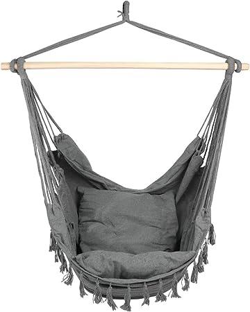 Amazon Com Caromy Hammock Chair Hanging Rope Swing Seat With 2 Cushions Swing Chair For Yard Bedroom Patio Garden Indoor Outdoor Grey Garden Outdoor
