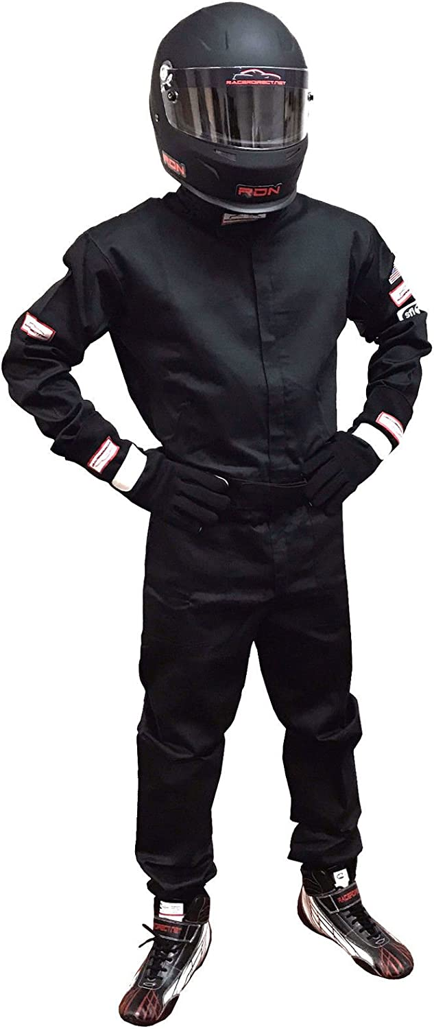 Racerdirect.net 1 Piece Fire Suit Driving Suit SFI 3.2A//1 Black One Piece 2X