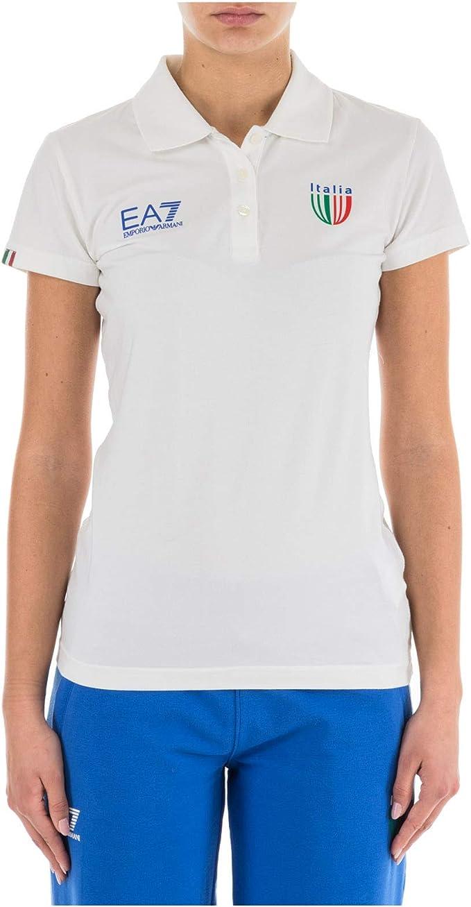 Emporio Armani EA7 Polo Italia Team Mujer Bianco S: Amazon.es ...