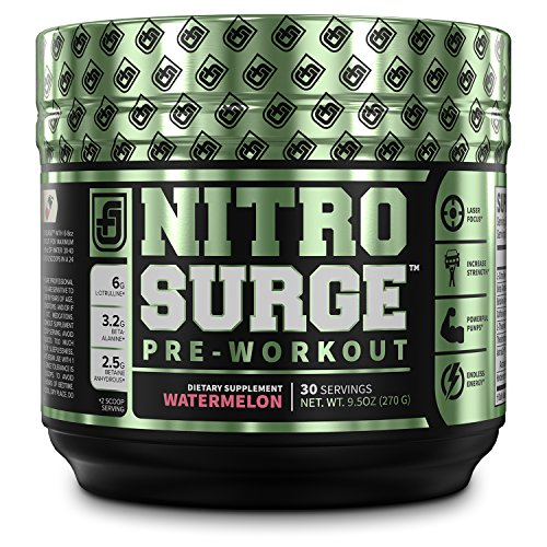 Cheap NITROSURGE Pre Workout Supplement – Endless Energy, More Strength, Sharp Focus, Intense Pumps – Nitric Oxide Booster & Preworkout Energy Powder – 30 Serving, Watermelon (9.5 oz) (Watermelon)