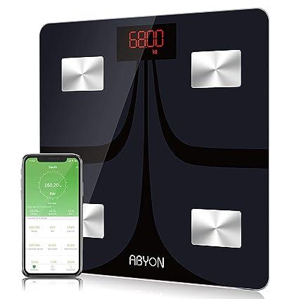 ABYON Báscula digital Bluetooth para peso y grasa corporal – analizador de composición corporal con aplicación