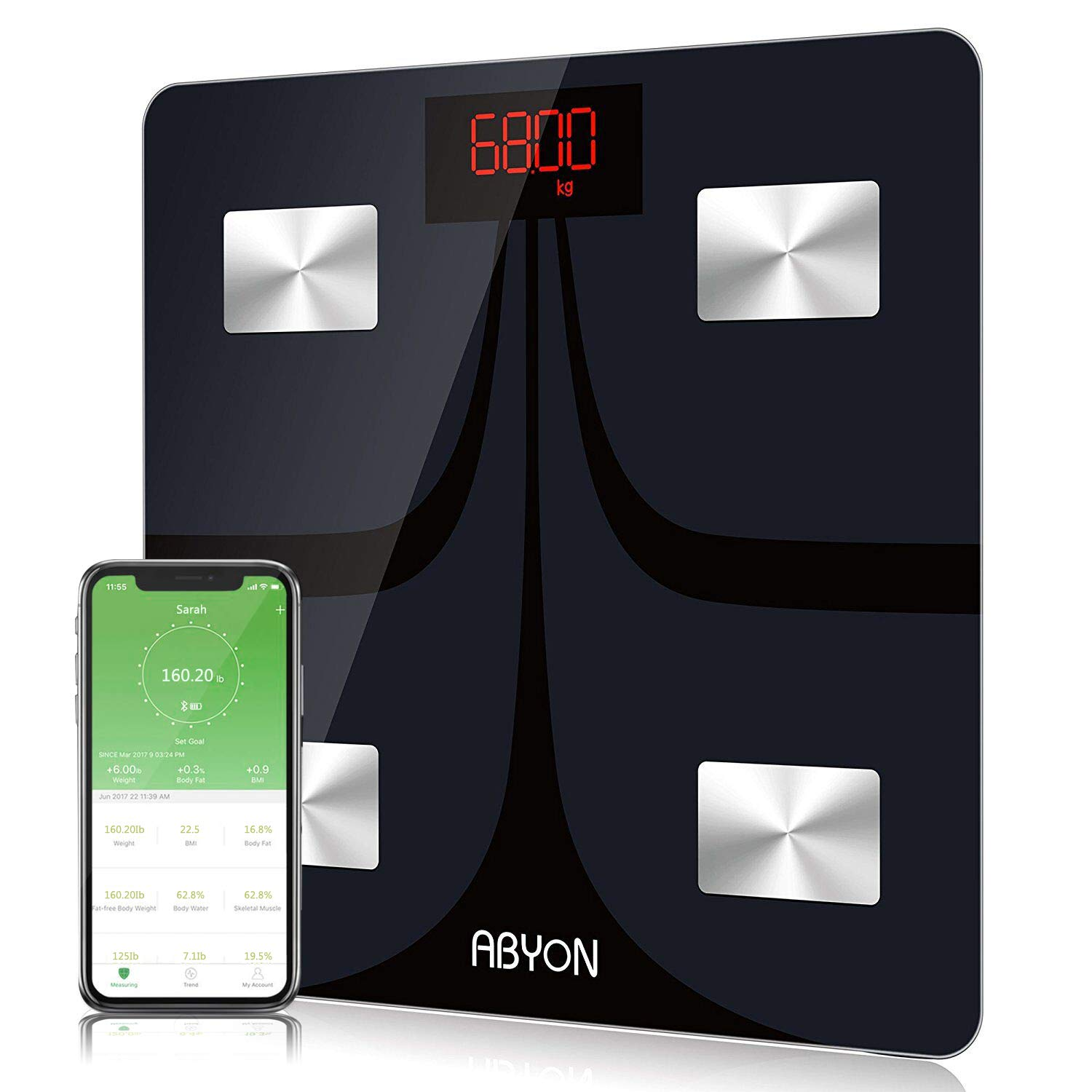 Bluetooth Smart Scales Digital Weight and Body Fat Monitors - in-Depth 11 Key Body Composition Analyzer with iOS & Android APP - Perfect for Your Fitness Journey, 400 Ib