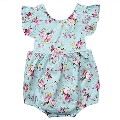 ddf347230186 Cute Newborn Baby Girl Floral Summer Romper Jumpsuit Ruffle Backless Bodysuit  Sunsuit Infant Outfits Clothes 0