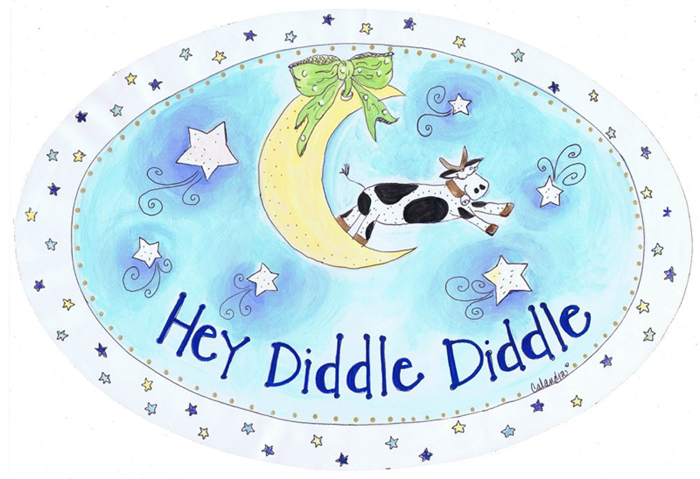 The Kids Room by Stupell Hey Diddle Diddle with the Cow on the Moon Oval Wall Plaque