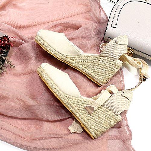 De Lin Mujer Con Tacón Lienzo Alto Zapatos Xing De De Sandalias Sandalias white Pendiente Gruesa De Pescador Paja Verano De creamy Femenina qgfYnpxw
